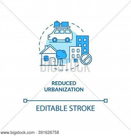 Reduced Urbanization Concept Icon. Reverse Globalization Trend Idea Thin Line Illustration. Increasi