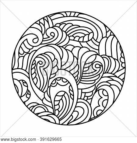 Decorative Round Pattern, Mehndi Style. Doodle Hand Drawn Pages Of Coloring Books, Anti-stress For C