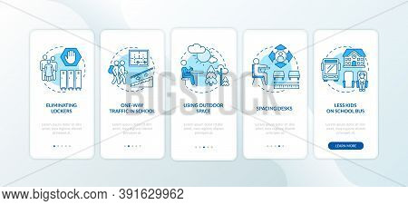 Covid School Safety Rules Onboarding Mobile App Page Screen With Concepts. Single Direction, Outdoor