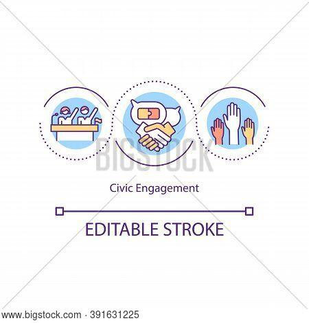 Civic Engagement Concept Icon. Collective Actions. Public Concern. Socio-economic Life. Civic Partic