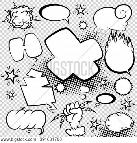 Comic Style Speech Bubbles Collection. Speech Balloons And Elements Set With Halftone Shadows. Funny