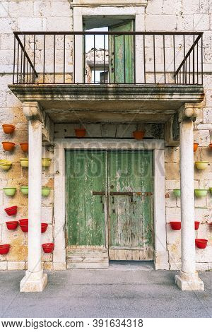 Beautiful Facade Of Old Building In Sutivan Town, Brac Island, Croatia.