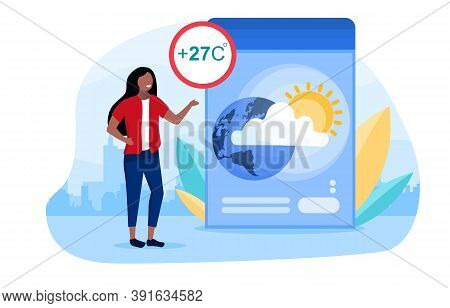 Weather Forecast Concept With A Girl Telling Viewers About The Upcoming Weather. Warm, Dry Weather W