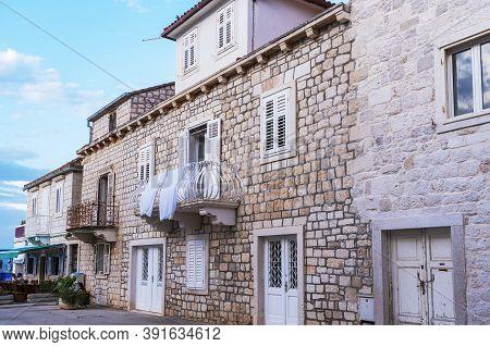 Historical Stone Buildings In Sutivan Town, Brac Island, Croatia.