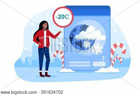 Weather Forecast Concept With A Girl Telling Viewers About The Upcoming Weather. Cold, Frosty, Snowy