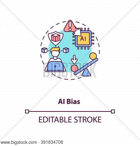 Ai Bias Concept Icon. Human Mistake While Programming Smart Computer. Future Device Problems. Ai Thr
