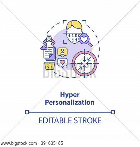 Hyper Personalization Concept Icon. Interesting Futuristic Human Devices. Identification Method. Ai