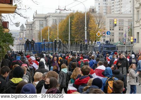 Minsk, Belarus - October 25, 2020. Police, Troops. Peaceful Protesting Against Dictator Lukashenko.