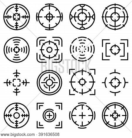 Focus Icons Set. Outline Set Of Focus Vector Icons For Web Design Isolated On White Background