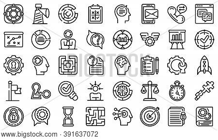 Problem Solving Icons Set. Outline Set Of Problem Solving Vector Icons For Web Design Isolated On Wh