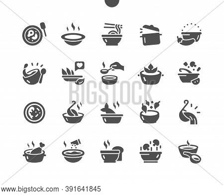 Set Of Soups. Meat Soup, Fish Soup, Chicken Soup. Dishes, Food. Vegetable Soups And Ingredients. Men
