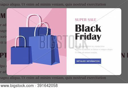 Black Friday Advertising Background Template. Marketing Poster, Web Page, Shopping Bags Design With