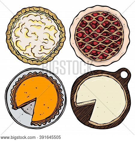Colourful Set Of Four Kinds Of Cakes On White Background. Lemon Pie, Cheesecake, Cherry Open Pie, Pu