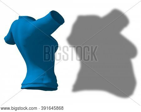 Conceptual fat overweight obese shadow female blouse outfit vs slim fit healthy body after weight loss or diet thin young woman isolated. A fitness, nutrition or obesity health shape 3D illustration