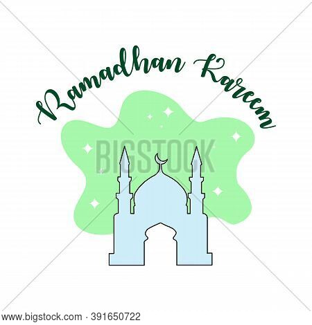 Ramadhan Kareem, Mosque, Vecto Mosque Icon, Isolated Mosque Icon Against A Light Green, Islamic Back