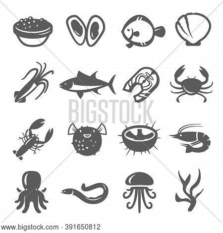 Seafood, Delicacy Bold Black Silhouette And Line Icons Set Isolated On White. Marine Animal, Fishes.