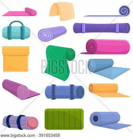 Yoga Mat Icons Set. Cartoon Set Of Yoga Mat Vector Icons For Web Design