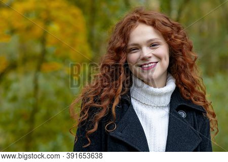 Ginger Girl Laughter And Smile, Looking At The Camera, Copy Space. Happy, Portrait Of A Beautiful, Y