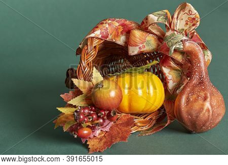 Fall Season. Artificial Horn Of Plenty With Pumpkin, Gourd And Apple.