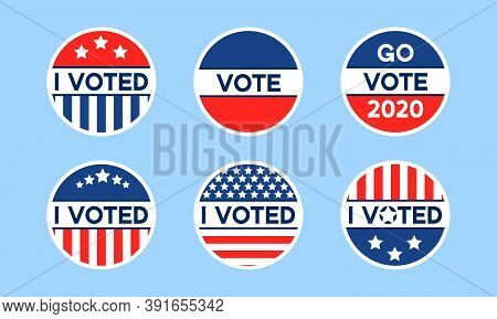 Usa 2020 Voting Icons. Set Of Circle Flat Stickers With I Voted Quote In Red And Blue, Stars And Str