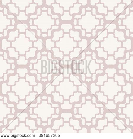 Subtle Vector Geometric Seamless Pattern With Delicate Grid, Net, Mesh, Lattice, Wavy Lines. Elegant