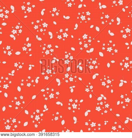 Vector Seamless Pattern With Small Pink Pretty Flowers On Bright Orange Backdrop. Liberty Style Mill
