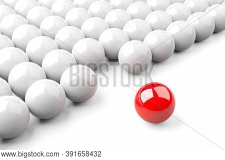 Single Red Ball Standing Out From The Crowd Of Shiny White Spheres, Leadership, Standing Out Or Brav