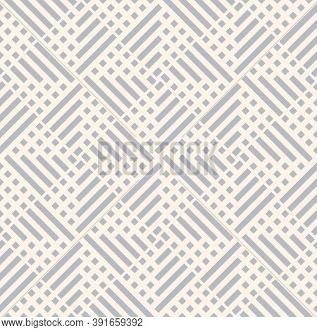 Abstract Vector Geometric Seamless Pattern With Squares, Lines, Grid, Net. Simple Light Gray Geometr