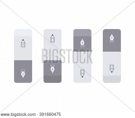 Set Of Gray Ink And Graphite Erasers. School And Office Supplies Collection. Flat Vector Illustratio