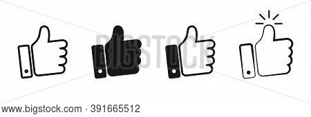 Thumbs Up Collection On White Background. Isolated Like Icons In Black. Outline Finger Up. Positive