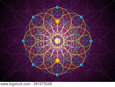 Seed Of Life Symbol Sacred Geometry. Logo Icon  Geometric Mystic Colorful Mandala Of Alchemy Esoteri