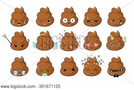 Funny Cute Poop Emoji Big Vector Set With Lol, Shocked, Teasing, Tired, Sad, In Love, Angel And Demo
