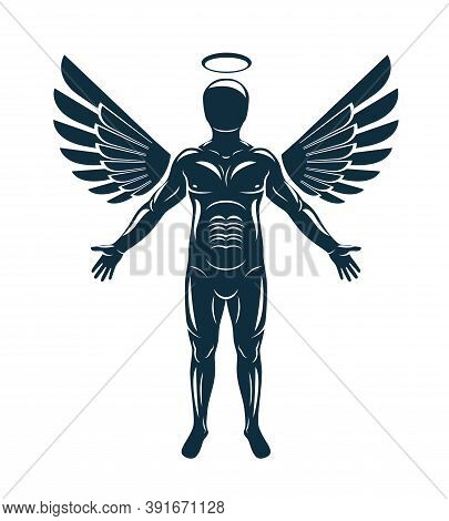 Vector Graphic Illustration Of Muscular Human Made Using Angelic Bird Wings And Halo. Guardian Angel