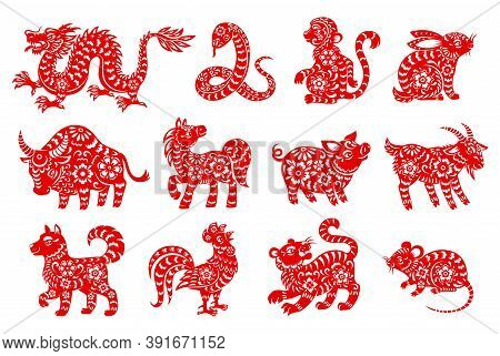 Chinese Horoscope Animal Isolated Icons With Red Paper Cut Zodiac Symbols Of Lunar New Year. Vector