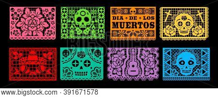 Dia De Los Muertos Papel Picado Vector Set Of Mexican Day Of The Dead Or Halloween Holiday. Paper Cu