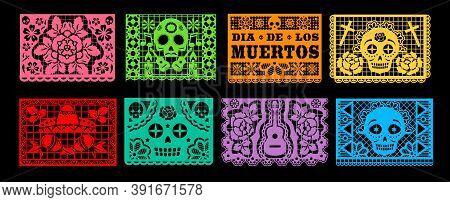 Dia De Los Muertos Papel Picado Vector Set Of Mexican Day Of The Dead Or Halloween Holiday. Paper Cu