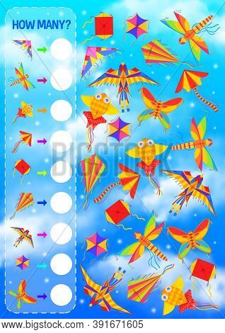Counting Game For Kids Education Vector Template With Kites Flying In Blue Sky. Math Puzzle, Find An