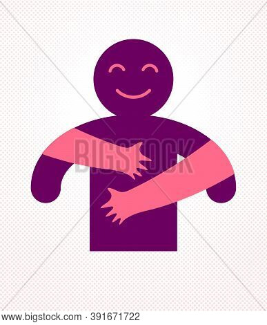 Hugs With Loving Hands Of Beloved Person, Lover Woman Hugging His Man And Shares Love, Vector Icon L