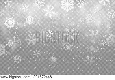 Realistic Snow Flakes Background, Isolated Vector Christmas Backdrop With Falling Snow And Steam. Sn
