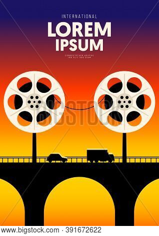 Movie And Film Poster Design Template Background With Vintage Film Reel. Design Element Can Be Used