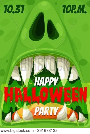 Halloween Party Vector Invitation Poster Of Horror Night Zombie Monster. Scary Grin Or Spooky Smile