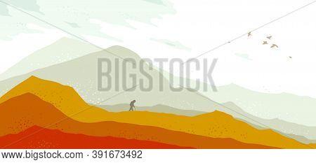 Beautiful Scenic Nature Landscape With Traveler Pilgrim Vector Illustration Autumn Season With Grass