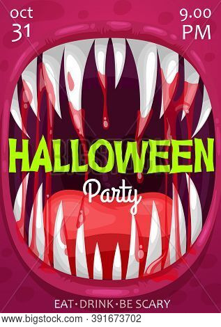 Halloween Vampire Monster Scream Vector Poster Of Horror Night Party Invitation. Scary Bloody Mouth