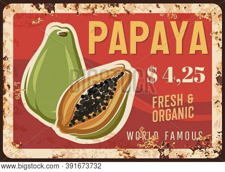 Papaya Fruit Rusty Metal Plate With Price, Food Farm Market, Vector Vintage Poster. Exotic Tropical