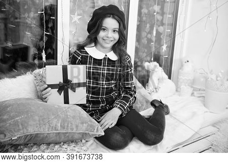 Surprise For Her. Kid At Home Relaxing On Cozy Window Sill. Magic Moment. Happy Winter Holidays. Sma