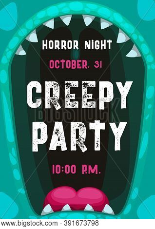Halloween Horror Night Party Vector Poster With Frame Of Screaming Monster Mouth. Scary Alien Creatu