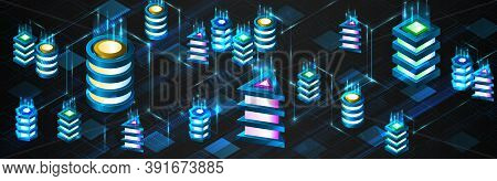 Technology Concept For Data Center With Server Or Hosting. Binary Code Structure. Big Data Stream. A