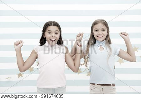 Thrilled Moments Together. Kids Schoolgirls Preteens Happy Together. Girls Smiling Happy Faces Excit