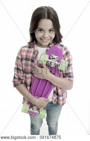 Penny Board Girl. Girl With Penny Board. Hipster Child Hold Skate Penny Board. Penny Board In Hands