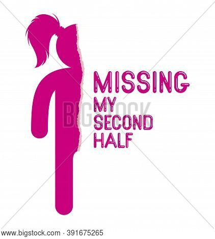Half Of Woman Icon Lonely And Missing His Mate Lover Boyfriend, Divorce Breakup And Loneliness Vecto